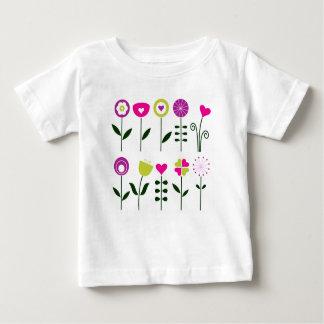 Camiseta Para Bebê Flores populares luxuosas no branco