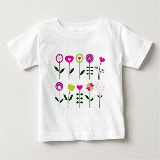Camiseta Para Bebê Flores populares/preto cor-de-rosa mágico no