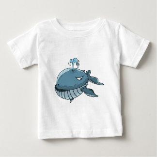 Camiseta Para Bebê Flutuação gigante do mar da baleia azul dos