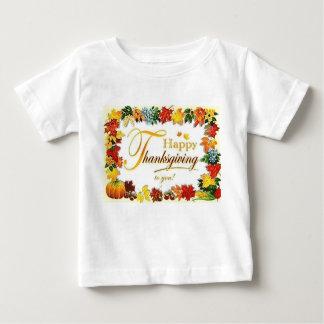 Camiseta Para Bebê Folhas coloridas da acção de graças feliz do