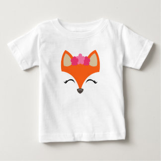 Camiseta Para Bebê Fox com o T da coroa da flor para miúdos