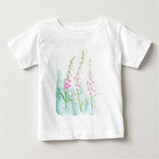 Camiseta Para Bebê Foxgloves cor-de-rosa da aguarela
