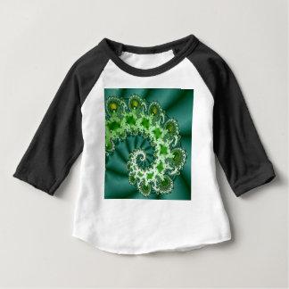 Camiseta Para Bebê Fractal espiral verde