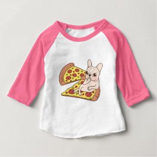 Camiseta Para Bebê Frenchie de creme convida-o a seu partido da pizza