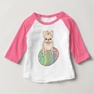 Camiseta Para Bebê Frenchie & pintinho da páscoa no ovo da páscoa