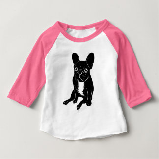 Camiseta Para Bebê Frenchie rajado bonito na arte digital preta &
