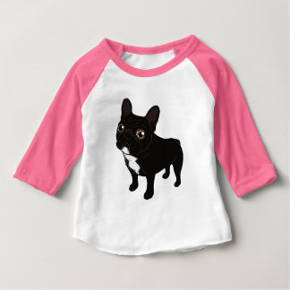 Camiseta Para Bebê Frenchie rajado gosta de ir para uma caminhada