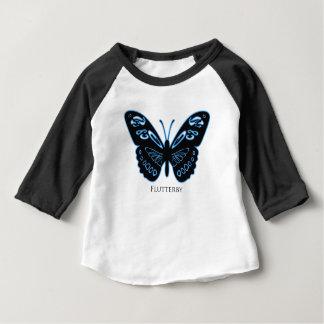 Camiseta Para Bebê Fulgor azul preto de Flutterby