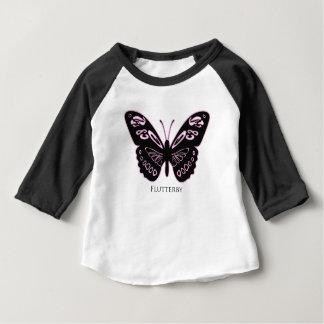 Camiseta Para Bebê Fulgor cor-de-rosa preto de Flutterby