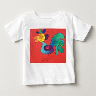 Camiseta Para Bebê Galo do arco-íris