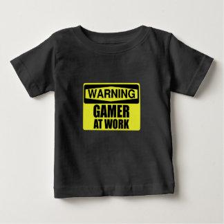 Camiseta Para Bebê Gamer do sinal de aviso no trabalho engraçado