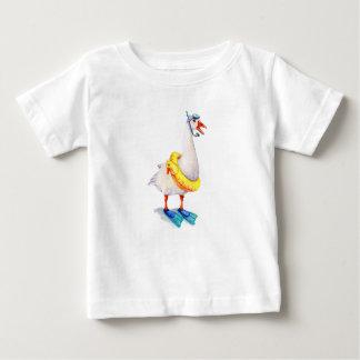 Camiseta Para Bebê Ganso branco Snorkeling