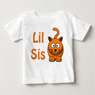 Camiseta Para Bebê Gato alaranjado bonito do irmão grande do irmão da