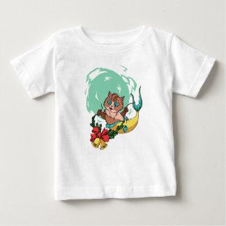 Camiseta Para Bebê Gato da sereia com festão do Natal