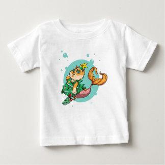 Camiseta Para Bebê Gato da sereia do Natal