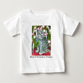 Camiseta Para Bebê Gato do Natal com peixes do Natal dos peixes os