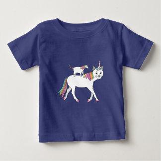Camiseta Para Bebê Gato do unicórnio da equitação do unicórnio do
