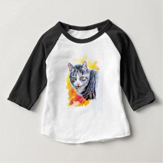 Camiseta Para Bebê Gato listrado cinzento