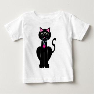Camiseta Para Bebê Gato preto bonito