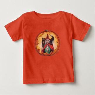Camiseta Para Bebê Gato preto de sorriso bonito da coruja da bruxa
