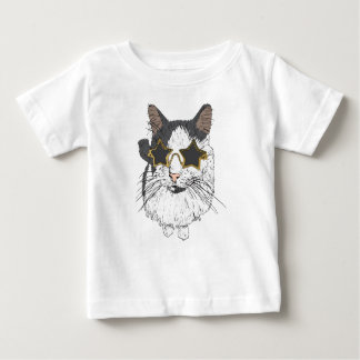Camiseta Para Bebê Gato que veste vidros da estrela