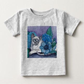 Camiseta Para Bebê Gato Siamese de ponto azul