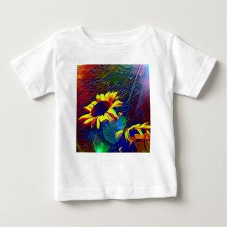 Camiseta Para Bebê Girassóis artísticos vibrantes bonito