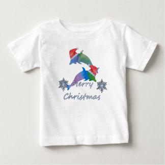 Camiseta Para Bebê Golfinhos do Natal