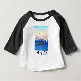 Camiseta Para Bebê Gôndola de Veneza Italia no canal grande com San