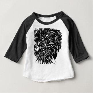 Camiseta Para Bebê Gráfico impresso leão no preto