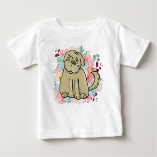 Camiseta Para Bebê Grande cão macio com flores