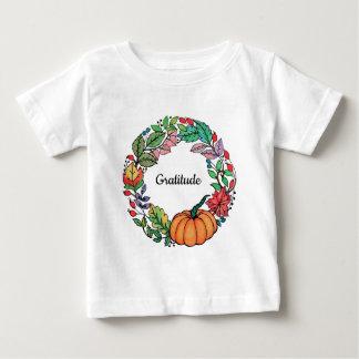 Camiseta Para Bebê Grinalda bonita da abóbora da aguarela com folhas