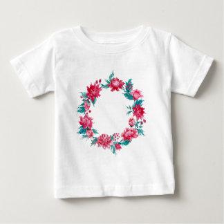 Camiseta Para Bebê Grinalda da peônia do Natal da aguarela
