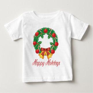Camiseta Para Bebê Grinalda do Natal com ornamento Bels e doces