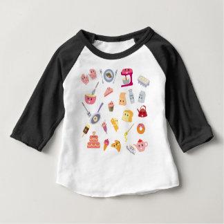 Camiseta Para Bebê Grupo bonito do ícone da cozinha da bebida e do