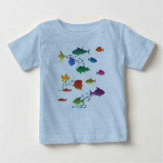 Camiseta Para Bebê Grupo colorido de peixes subaquáticos