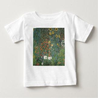 Camiseta Para Bebê Gustavo Klimt - flores dos girassóis do jardim do