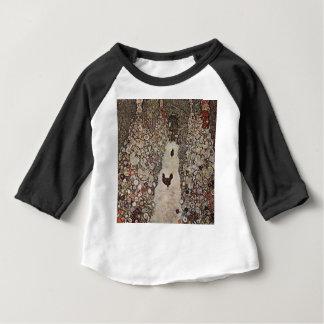 Camiseta Para Bebê Gustavo Klimt - jardim com galos
