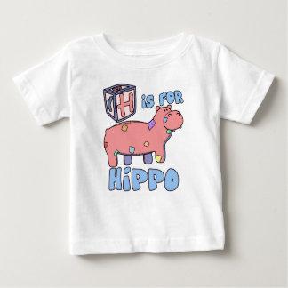 Camiseta Para Bebê H é para o t-shirt do bebê do hipopótamo