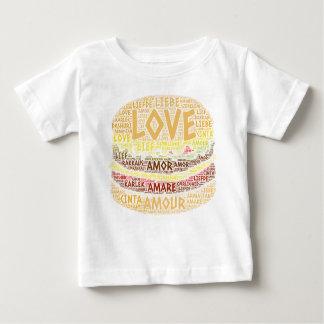 Camiseta Para Bebê Hamburger ilustrado com palavra do amor