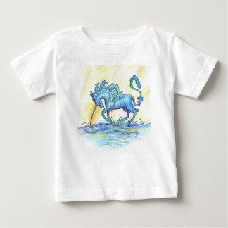 Camiseta Para Bebê Hipocampo azul do cavalo dos peixes do unicórnio