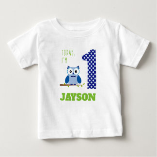 Camiseta Para Bebê Hoje eu sou 1 aniversário da coruja do menino azul