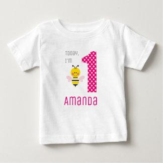 Camiseta Para Bebê Hoje eu sou asas de 1 rosa da abelha do bebê da