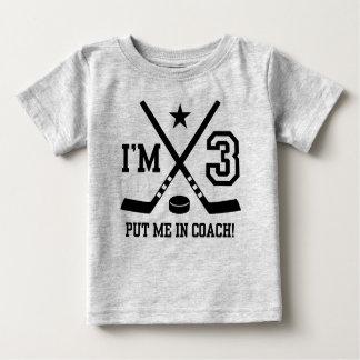 Camiseta Para Bebê Hóquei do aniversário de 3 anos