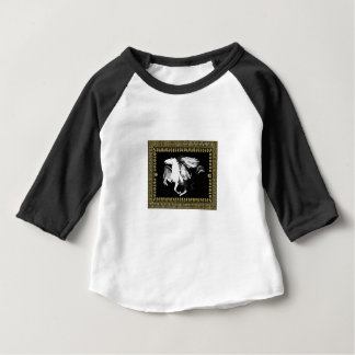Camiseta Para Bebê hourse branco desvanecido