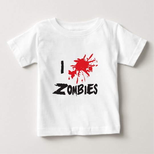 Camiseta Para Bebê I Love Zombie