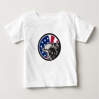 Camiseta Para Bebê Ícone americano da bandeira dos EUA do búfalo