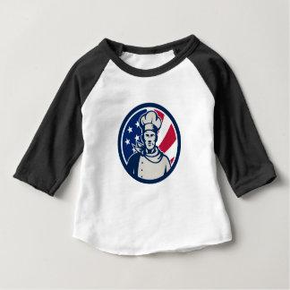 Camiseta Para Bebê Ícone americano da bandeira dos EUA do cozinheiro