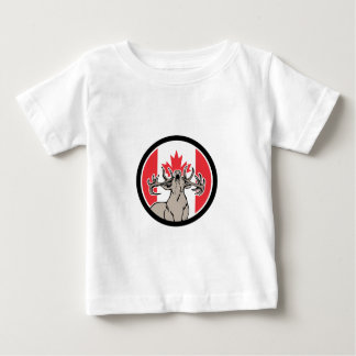 Camiseta Para Bebê Ícone canadense da bandeira de Canadá dos cervos