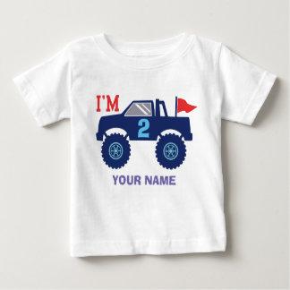 Camiseta Para Bebê Idade e nome feitos sob encomenda do monster truck